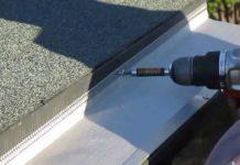 Flat roof gutters installation