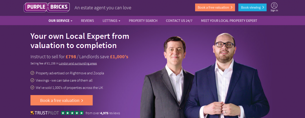 Online Estate Agents purple bricks